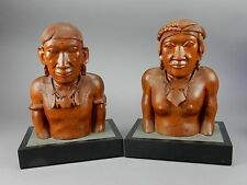 Pair of Intricately Carved American Native Statues wood and and stone Base 13 in