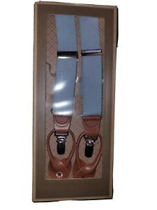 NWT TRAFALGAR Light Blue Linen Convertible Suspenders Braces Leather Fittings