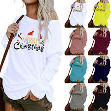 Womens Merry Christmas Printed Pullover T-Shirt Casual Loose Blouse Tunic Tops