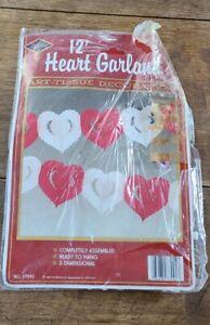 Beistle 12ft Valentine Garland Heart Tissue Valentines Day Decorations 1989 NOS