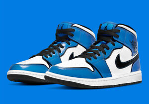 Nike New Air Jordan 1 Mid Signal Blue White Patent Leather DD6834-402 Mens 12 14
