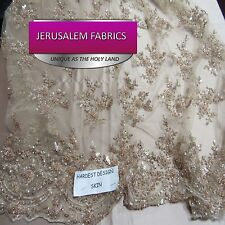 Royalty Bridal luxury wedding beaded skin mesh lace fabric. Sold by the yard