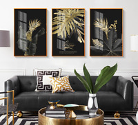 Abstract Golden Leaf Plant Wall Art Canvas Painting Nordic Posters and Prints