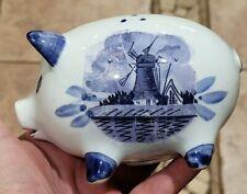 Vtg Delft Blue White Pig, mini Piggy Bank Windmill, Floral, Hand Painted E.H. 55