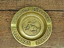 Zodiac Sign Rabbit Chinese Ashtray Trinket Coin Tray Coaster Brass Vintage