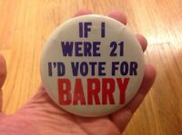 """Vintage 1964 Barry Goldwater for President BIG 3.5"""" If I were 21 Original Button"""