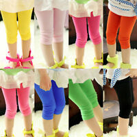 Girls Stretch Cropped Pants Solid Slim Leggings Skinny Trousers For Age 7-12