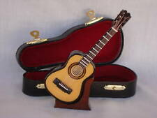 "Miniature GUITAR  4.75"" Long W/Case & Stand Great MUSIC Gift NIB Cute!"