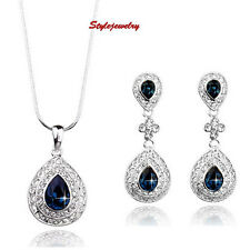 Antique Silver Blue Sapphire Teardrop Bridal Set Made With Swarovski Crystal XS9