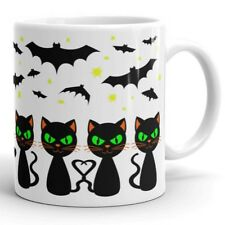 Cute HALLOWEEN Cats & Bats Funny Coffee Mug Tea Cup Unique Gift for Family Kids