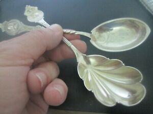2 MEDALLION  1860s - COIN SILVER - SERVING SPOONS  old patina