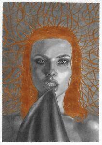 original painting A4 335GK art samovar Mixed Media female portrait Signed 2021