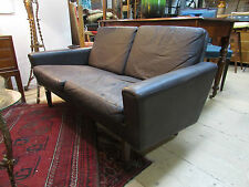 DANISH 2 SEATER  LEATHER COUCH LOUNGE SOFA LOW LINE VINTAGE RETRO MID CENTURY