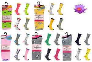 3 Pairs Ladies Coloured Assorted Comfortable Adult Luxury  Socks UK SIZE 4-8
