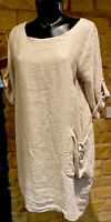 Lagenlook Designed Made In Italy Ladies Linen Tunic/ Dress Top1Size 8-18