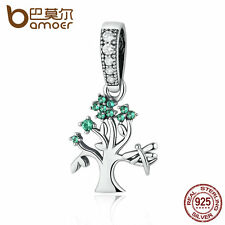 Bamoer S925 Sterling Silver Dangle charm Life Tree With GREEN CZ fit Bracelet