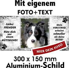 Hunde Schild dein FOTO TEXT mit eigener Rasse Beispiel Border Collie Hütehund