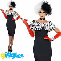 Evil Madame Cruella De Ville Costume Womens Ladies Halloween Fancy Dress Outfit