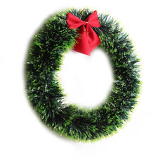 Green Christmas Wreath with Bow Knot Indoor Outdoor Hanging Door Decorations New