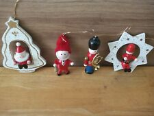 Wooden Christmas Decorations X4