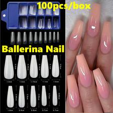 100pcs Long Acrylic Ballerina Coffin Tips False Nail Full Clear Natural White UK