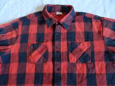 Red Black Buffalo Plaid Flannel Shirt - XXL Mens Vintage Cotton Work Lumberjack