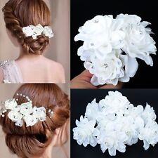 5 Nupcial Boda Blanco Rosa Flor Y Pasadores de pelo clips hecho a mano de cristal claro