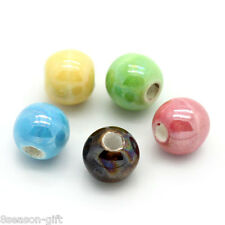 "50PCs Ceramic Charm Spacer Beads Round Mixed 6mm( 2/8"")Dia."