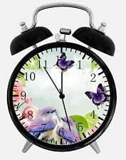 "Butterfly Birds Alarm Desk Clock 3.75"" Home or Office Decor E16 Nice For Gift"