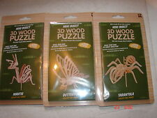 WOOD PUZZLE 3D  x 3 Tarantula Mantis and Butterfly