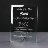 Personalised Engraved Dove Glass Plaque Wedding Mr and Mrs Gift WED-5