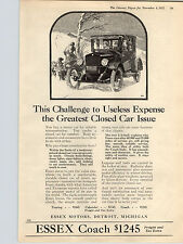 1922 Paper Ad Car Auto Automobile Essex Coach Closed Car Detroit MI