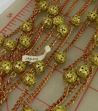 10 feet vintage copper color chain with 9mm gold filigree metal beads Japan