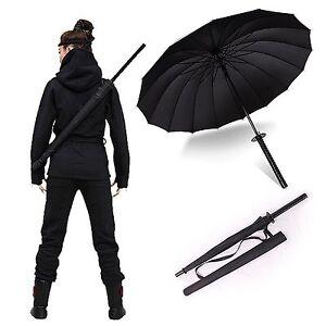 "38"" tall Black Samurai Ninja Katana Umbrella Samurai Swords Umbrella US Seller"