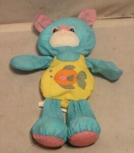 Vintage Playskool Water Pets Plush Animal Stuffed Blue & Yellow w/ Fish on Suit