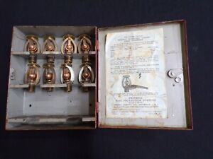 Set of 8 Vintage Grinnell Duraspeed Upright Sprinkler Head in original wall case