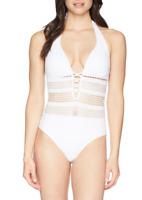 Bleu Rod Beattie White Sheer Halter Mio One Piece Women's Swimsuit Size 12 71808