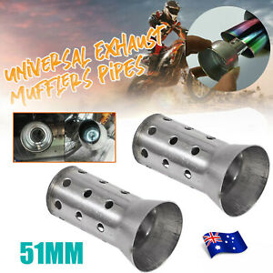 2X 51MM Motorcycle Exhaust Pipe Can Muffler Baffle Removable Silencer Universal