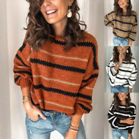 Tops V Neck Jumper Womens Sweater Block Long Sleeve Pullover Color Knitted