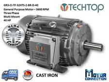 40 HP Electric Motor, GEN PURP, 3600 RPM, 3-Phase, 324TS, Cast Iron, NEMA Prem