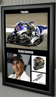 "Jorge Lorenzo  MotoGP Motor Cycle Framed Canvas Tribute Signed ""Great Gift"""