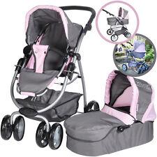 Knorrtoys Puppenwagen Coco 2in1 Rockstar grau rosa Puppenkinderwagen Wanne Karre