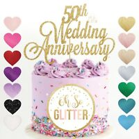 50th wedding anniversary cake topper golden Glitter gold fifty customised years
