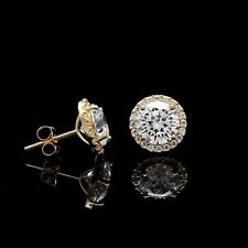 1.00CT Brilliant Created Diamond Halo Stud Earrings 14k Yellow Gold Round Cut