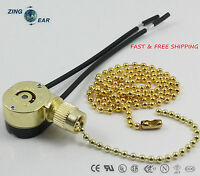 Zing Ear 2 Wire Ceiling Fan Pull Chain Light Switch Lamp Holder Canopy 2 Wire
