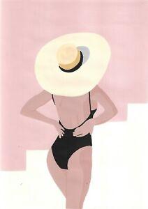 original painting A4 23ХAn Illustration Art acrylic woman with hat on the beach