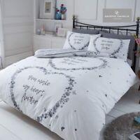 Flutter Grey Double Duvet Quilt Cover Hearts Butterfly Reversible Bedding Set