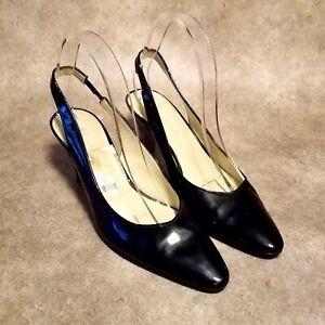 Anne Klein Womens Kahn  Sz 8 M Black Leather Slingback Heels Pumps