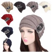 Women's Winter Warm Chunky Knit Beanie Hats Ladies Knit Ski Cap with Fur Pom
