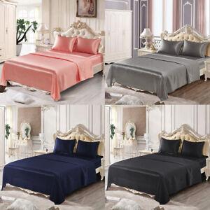 4 Piece Satin Silk Sheet Set Deep Pocket Fitted Bed Sheet Flat Sheet Pillowcases